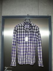 トルネードマート〓新品〓グラデーションチェック柄シャツ〓紫/L