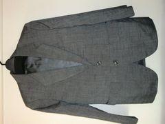 ★紳士高品質シングルジャケット光沢グレーS美品★