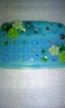 モバオク:電卓 キラキラフタ付き電卓グリーン系