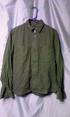 中古 綿 フランネル ジップシャツ M ミリタリー ODグリーン コムサイズム