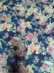 ☆新柄紺×鏡裏牡丹菊花束和柄ダボシャツ160