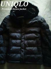 【UNIQLO】Premium フード付き ストレッチダウンジャケット L/Black