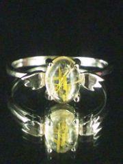 2416天然石5A人気黄金タイチンルチル天使リング15号