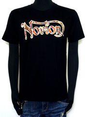 新品タグ付Nortonロゴボタニカル柄使いTシャツブラックL