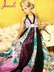 S ロングドレス Jewels シフォン ボリューム ホルター 新品J1506