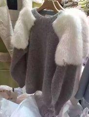 肩 ファー付き ニット トレーナー 韓国スタイル グレー×白