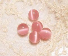キャッツアイビーズ10�o5個ピンク(人工石)