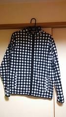 新品同様 紳士L 白×黒チェック フルジップ フリースジャケット