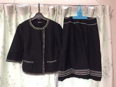 美品ダナキャランDKNY黒色ブラックスカートスーツセット