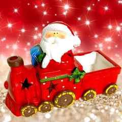 X'mas 汽車 サンタクロース キャンドル ポット 小物入 蝋燭 燭台