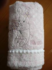 ピンクハウスフェイスタオル1枚うさぎブーケ刺繍ピンク