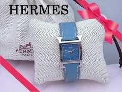 HERMES エルメス Hウォッチ クォーツ時計 女性用 ブルー HH1.210★dot