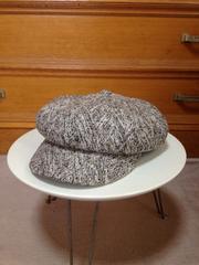 美品 FUBU デサント ウール毛 キャスケット帽子 ワーク S〜Mサイズグレー灰色+黒+白
