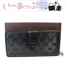 極美品 グッチ 長財布 インプリメ 黒 GG柄w622