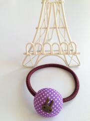 うさちゃんがポイントのドットのまんまるヘアゴム★パープル紫