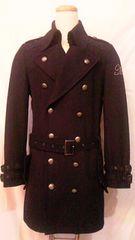 MIDAS・ミダスロゴラインストーン刺繍&スタッズウールロングトレンチコート衿2WAY黒