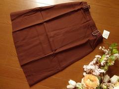 新品Tip Tip茶膝丈ボックスプリーツスカートMサイズ64-91