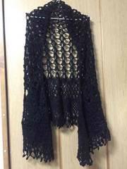カーディガン風編みストール 黒ブラック