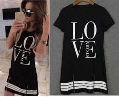 新品【6970】(Lサイズ)LOVEプリントTシャツワンピ