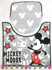 【ミッキー】可愛いトイレマット&カバー洋式2点セット�C