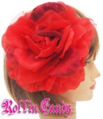 79$)大輪フラワーヘッドッドレス赤レッドヘアアクセウェディング髪飾りセレブ結婚式着物