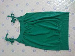 新品タグ付き グリーン緑のキャミソール リボン tinks