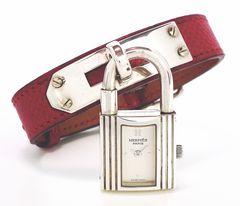 正規エルメスケリーウォッチシルバーSV925KE1.210赤シュクベルHERMESレディース腕時計