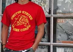 「US.MARINE」オフィシャル品・ROTHCO社・ブルドッグTシャツ赤L