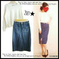 022514◆新品◆2点セット 在庫ラスト デザイン白ニット×カットオフデニムスカート