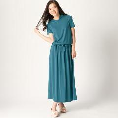 新品吸汗速乾フード付半袖マキシ丈ワンピース(UVカット)ブルーグリーン6L