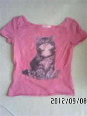 定形外込*リアル猫ティアラプリントパフスリーブTシャツ