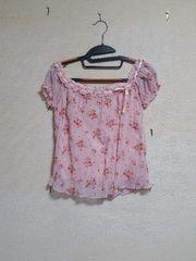 ☆花柄ピンク☆半袖シフォンシャツ☆