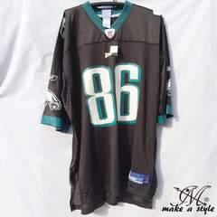 訳あり品 NFL フットボールシャツ EAGLES 黒 REEBOK 2XL 682