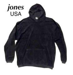 jones Made in USA ■ メンズ、ミニボア.パーカー:ブラック、L