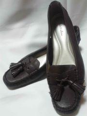 中古婦人靴24.5cmローファー 2本のフリンジが可愛い革靴