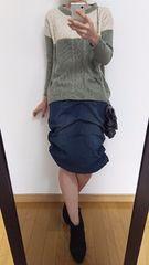 【新品+美品】日本製スカート+バイカラーニット◆総額13790円◆上下セット