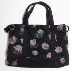 バラ大好きな方に薔薇のトートバッグ黒春、秋、冬用