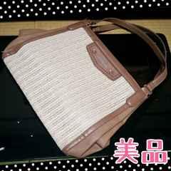 美品☆La joie de vivre合皮×麻の大きなハンドバッグ