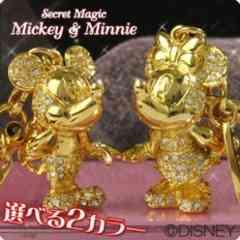 愛*LOVEミッキーマウス&ミニーマウスジュエリーストーン*ペアストラップゴールド