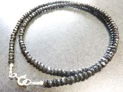 シルバー925<刻印入>ブラックスピネル(3〜4mm)ネックレス50cm巾着袋付