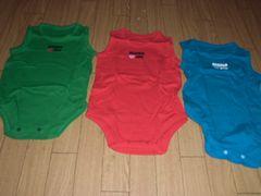 【新品】カワイイ♪ノースリーブロンパース3枚組80�p赤青緑