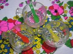 昭和レトロ耐熱ガラスティーカップミニスプーン付き新品