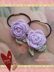 ハンドメイド/手編み♪レース編みお花のヘアゴム2個セット 543