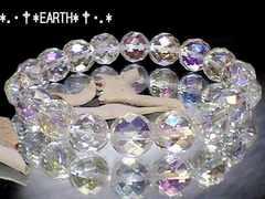 天然石★10ミリ64面カット水晶アクアオーラAAA