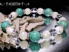 天然石★マザーオブパール&ターコイズ&水晶AAA数珠