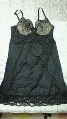 新品ブラ付きキャミソールランジェリー花柄刺繍デザインC75ブラック☆ベルメゾン