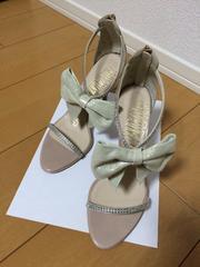 美品ハイヒールサンダル結婚式☆リボンラインストーン2万円