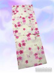 【和の志】女性用浴衣◇Fサイズ◇薄クリーム系・撫子628-32
