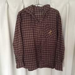 チェックシャツ(フード付き)