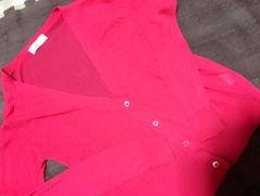 薄手のピンクカーデ